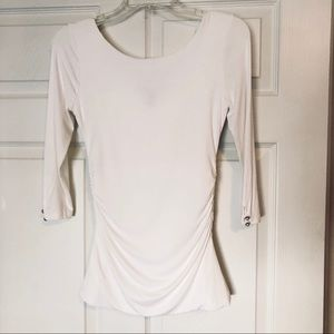 WHBM Dual Neck Tee With Faux Pearls XXS